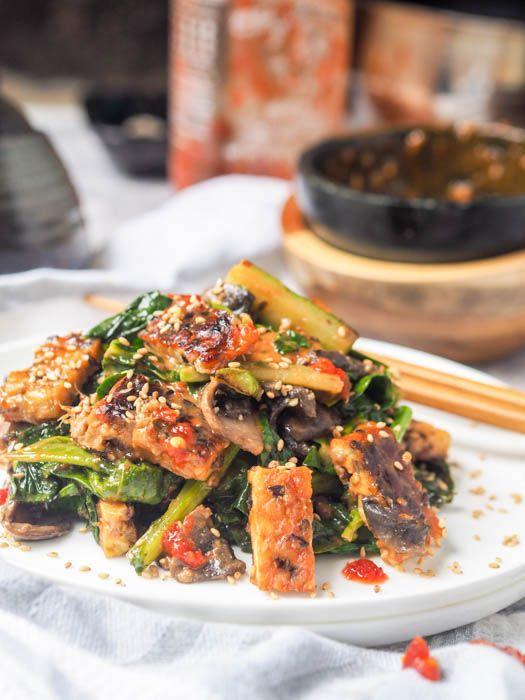 Tempeh Stir Fry With Spicy Tahini Sauce Gf Vegan