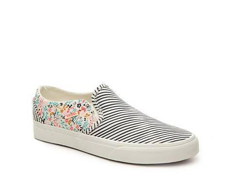 Vans Asher Stripe Floral Slip-On Sneaker - Womens  2634446a8