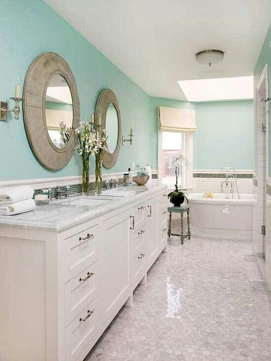 Light Blue Bathroom Walls White Granite Counter Tops White Tub