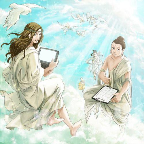 saint oniisan or sei oniisan jesus and buddha in heaven