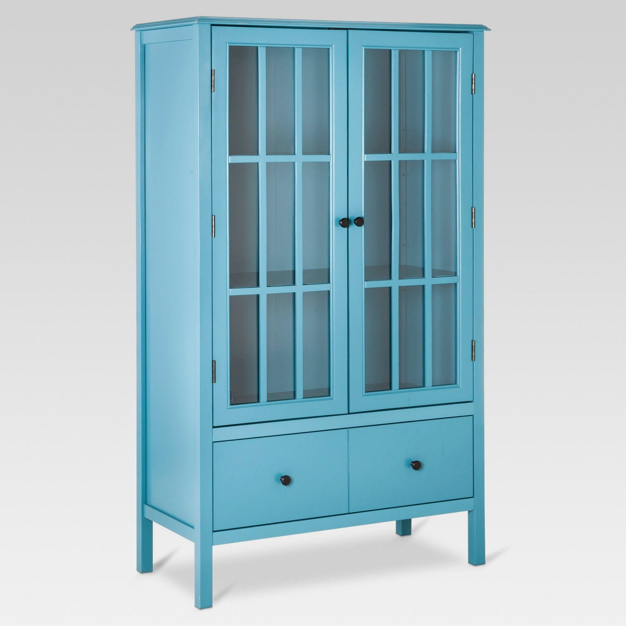 Windham Tall Storage Cabinet with Drawer Teal Blue  Threshold in