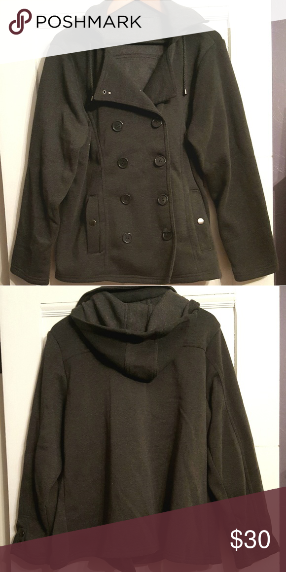 e482d8eab07 Grey Plus Size Peacoat Button Closure. Attached Hood. Has Some Stretch.  Worn Once