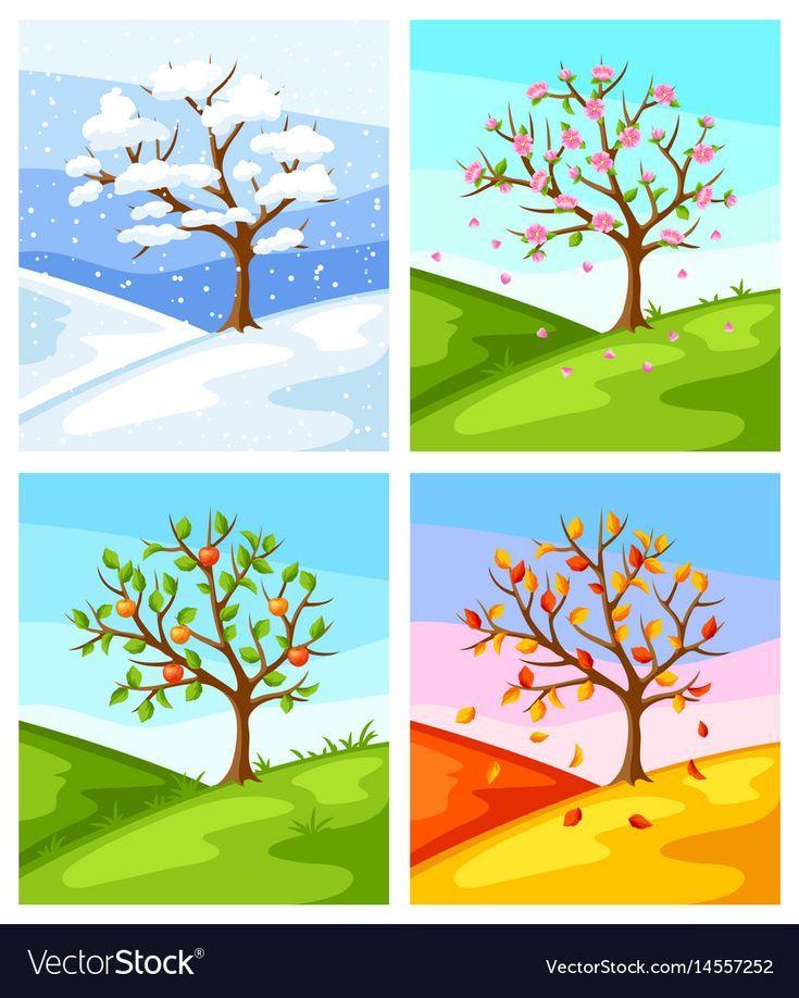 Vier Jahreszeiten Baum Und Landschaft Royalty Free Vector Image Jahreszeiten Baumbilder Illustration