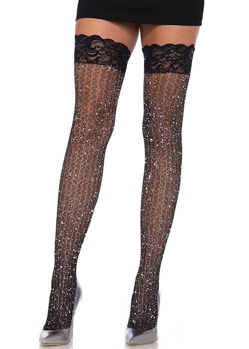 d220a637b8d Sheer 20 DEN Elastane Hold Ups Stockings with Lace by Romartex 17 Colours  Sizes S-XXL (Large Black)