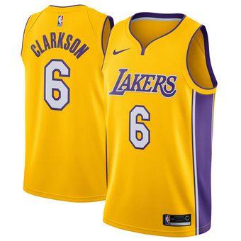 8ccd4f200 Men s Los Angeles Lakers Jordan Clarkson Nike Yellow Swingman Jersey - Icon  Edition