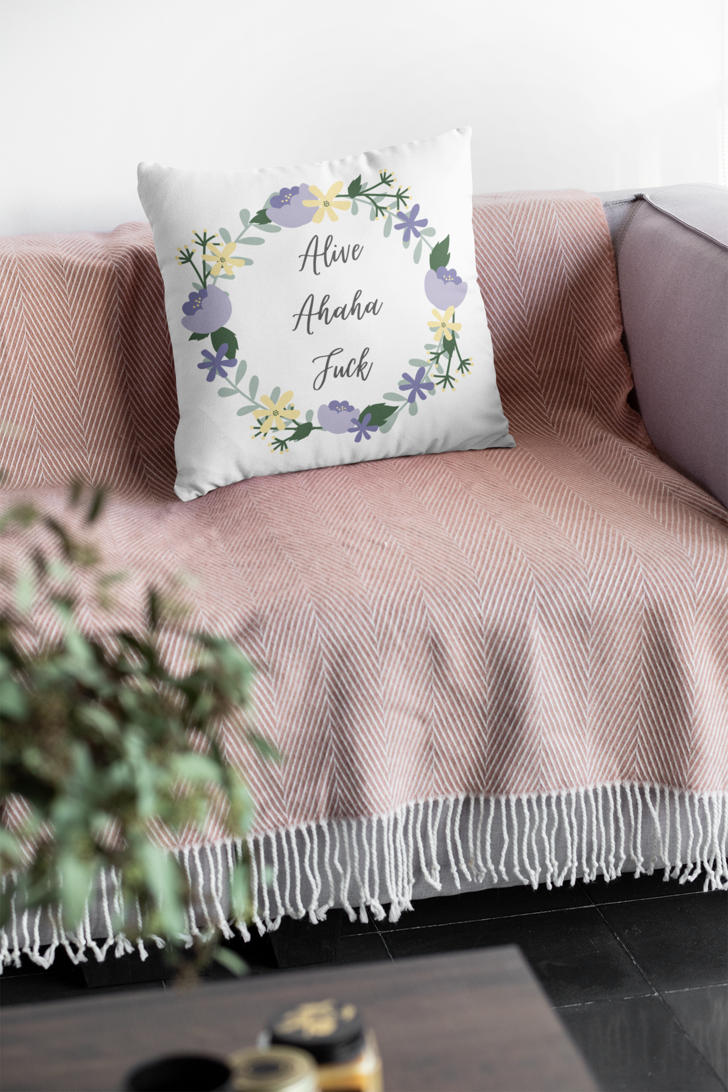 """Floral TikTok """"Alive Ahaha Fuck"""" Square Decorative Pillow