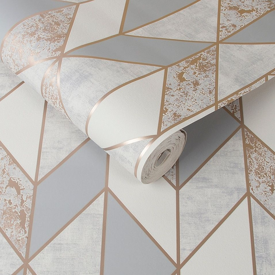 Milan Geo Non Woven Wallpaper Bed Bath Beyond Rose Gold Room Decor Rose Gold Bedroom Grey Removable Wallpaper