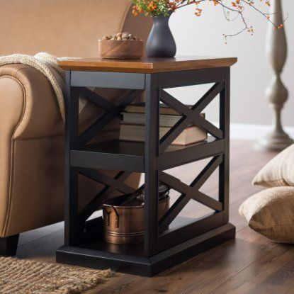 Belham Living Hampton Chair End Table Black Oak Hayneedle Decor Room Side Farmhouse Tables