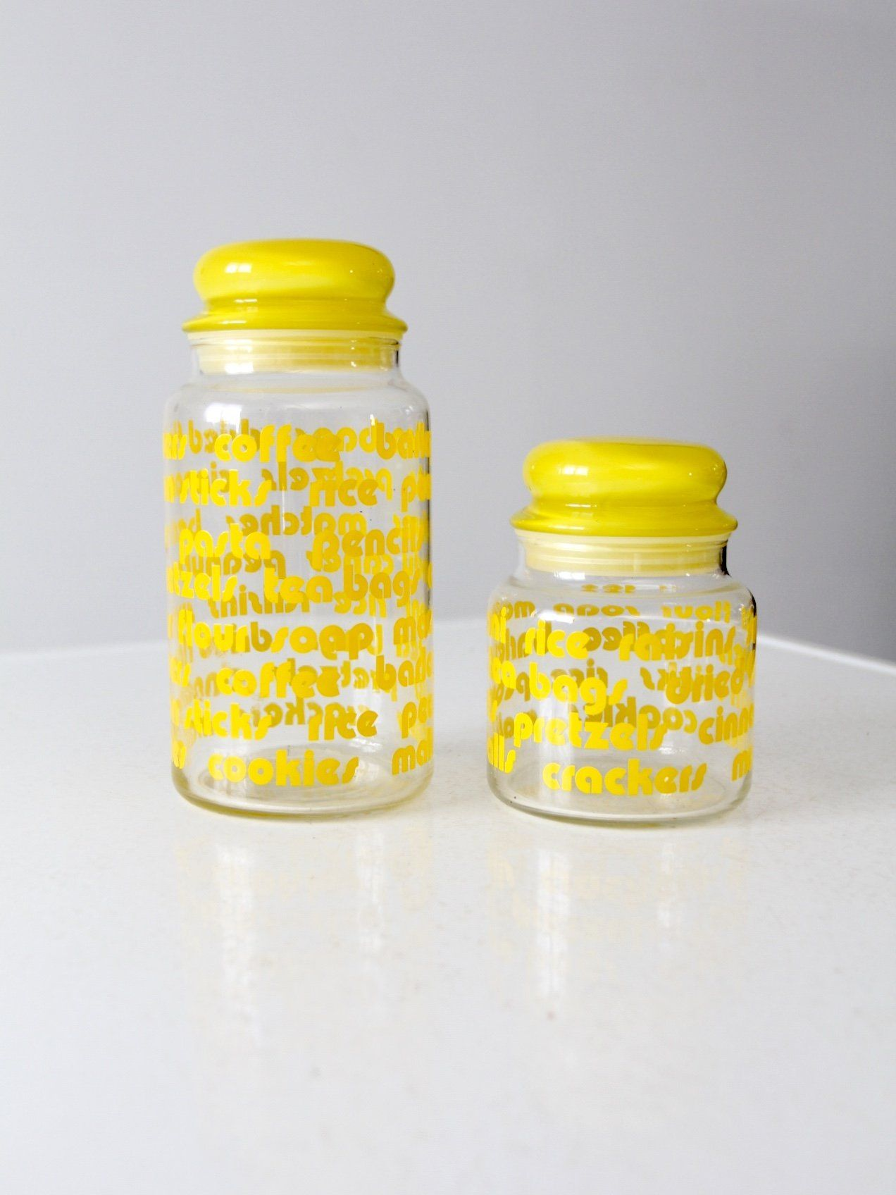 Kitchen canisters glass  Vintage mod glass kitchen canisters set of   Pinterest  Kitchen