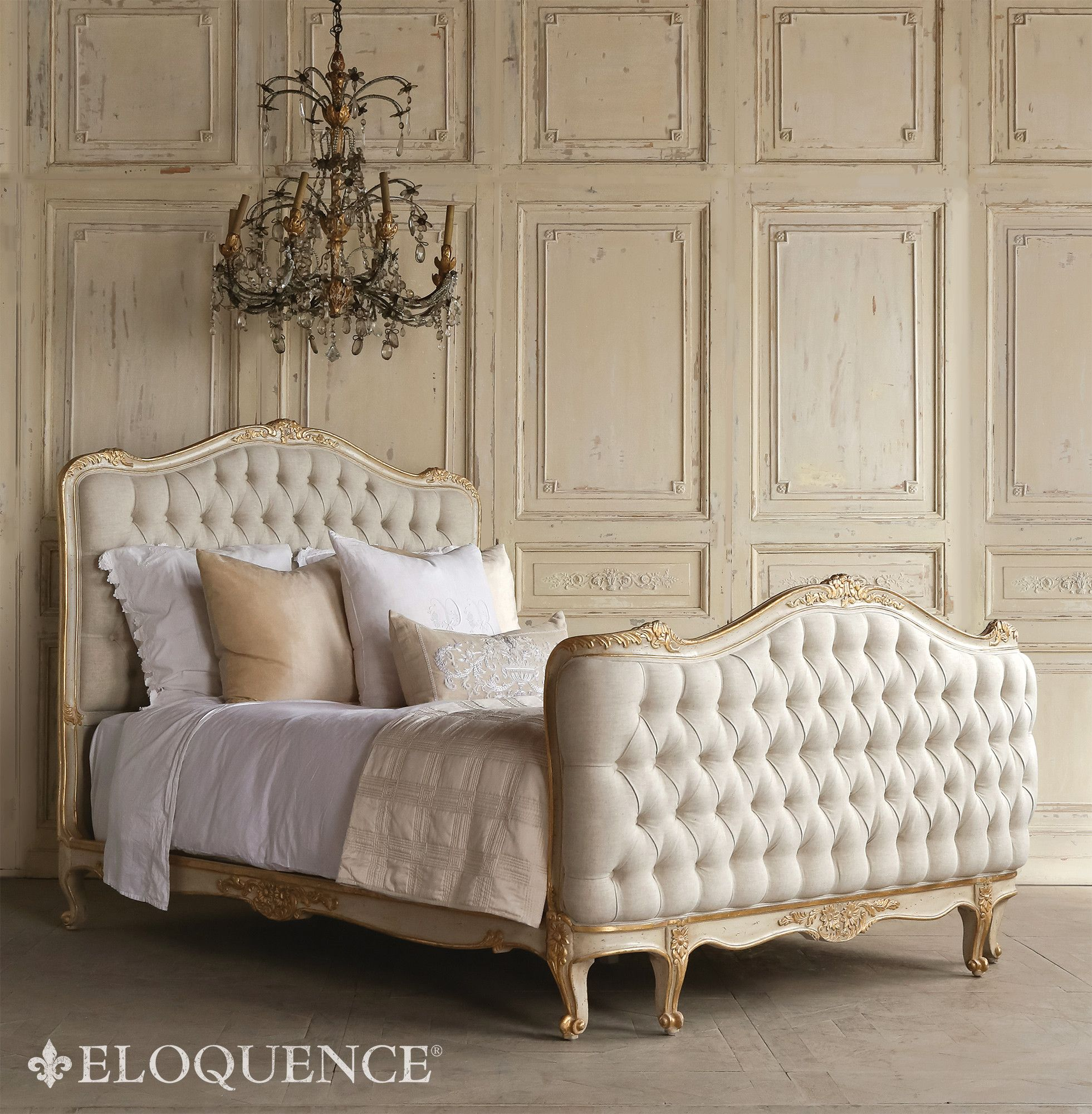 Sophia Bedroom Furniture Eloquence Sophia Queen Gold Two Tone Tufted Bed Chenzia Designs