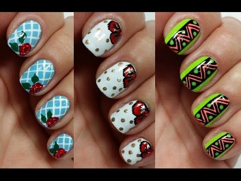 3 Easy Nail Art Designs For Short Nails Freehand Youtube Nails