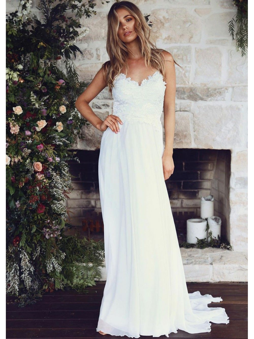 Flowing Tulle & Chiffon Spaghetti Straps A-Line Wedding Dresses With Lace Appliques