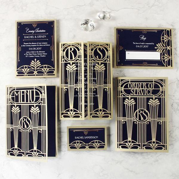 Golden Art Deco Great Gatsby Laser Cut Gatefold Wedding Day Invitation