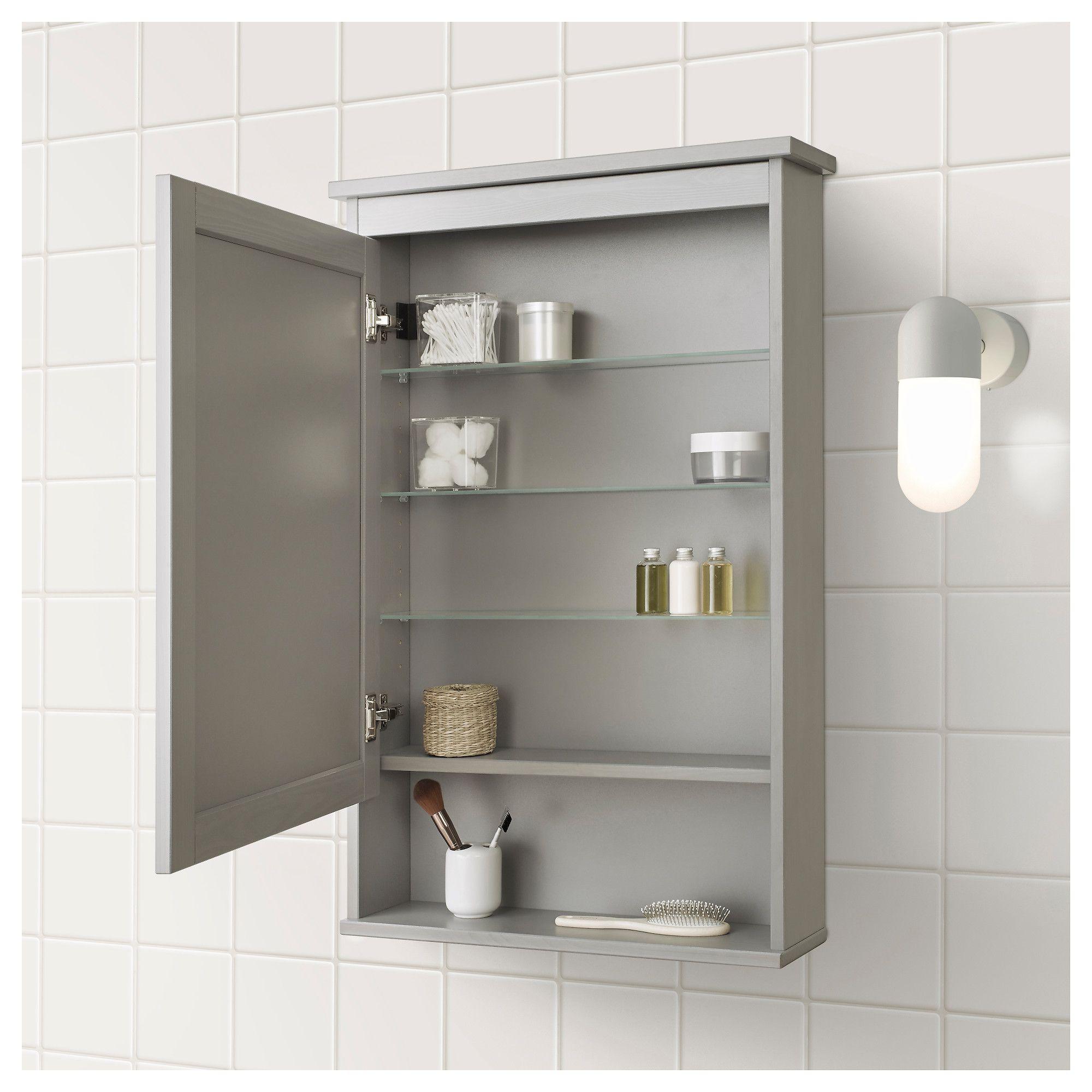 Hemnes Mirror Cabinet With 1 Door Gray Ikea Mirror Cabinets Small Bathroom Bathroom Mirror Cabinet