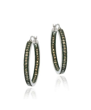Loving this Sterling Silver & Champagne Diamond One-Row Hoop Earrings on #zulily! #zulilyfinds