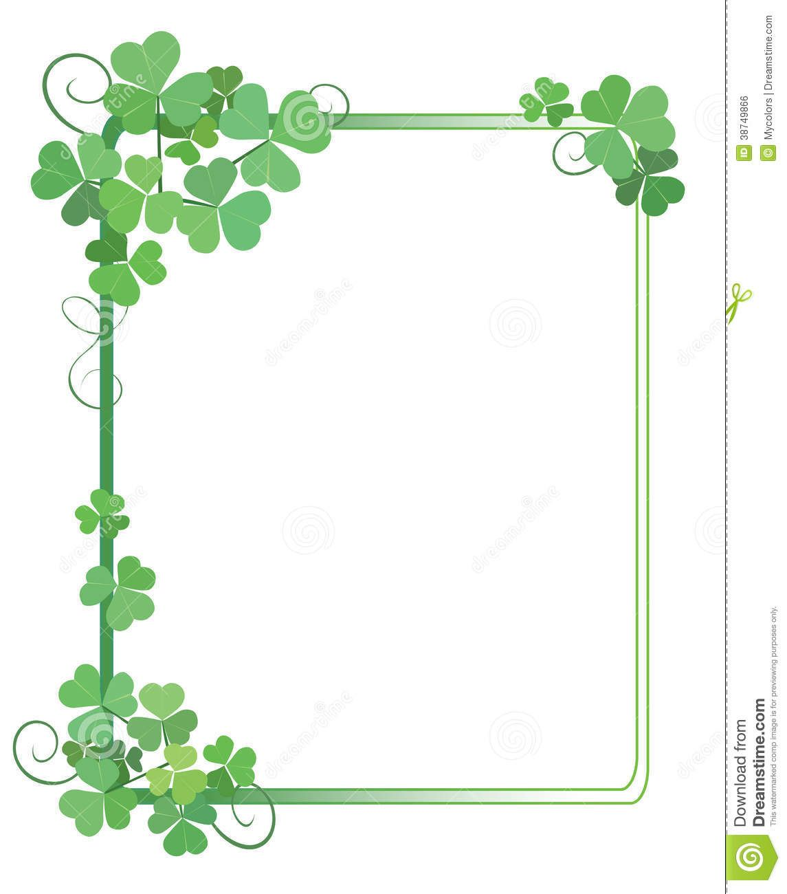 Decorative Green Frame With Shamrock Vector Green Frame Free Frames Shamrock