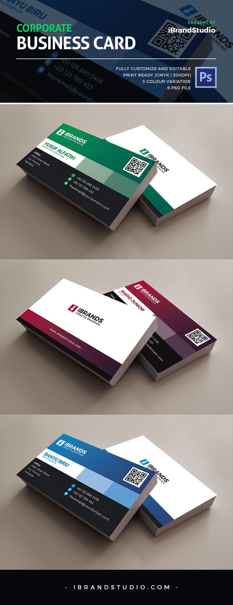 Free Corporate Business Card Template 3 Colors Carte De Visite