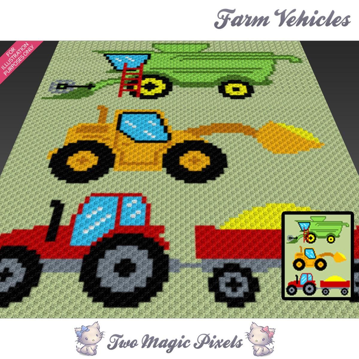 Farm Vehicles C2C Crochet Graph