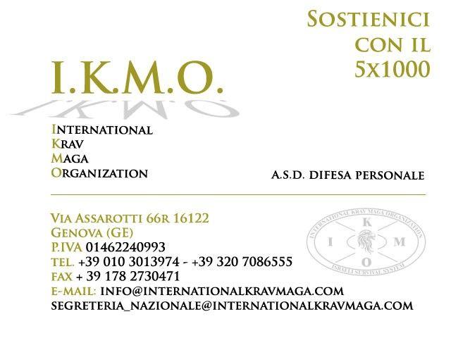 International Krav Maga Organization 5x1000 dichiarazione dei redditi donazione associazione sportiva krav maga non costa nulla gratis DONA IL TUO 5X1000 ALLA I.K.M.O.