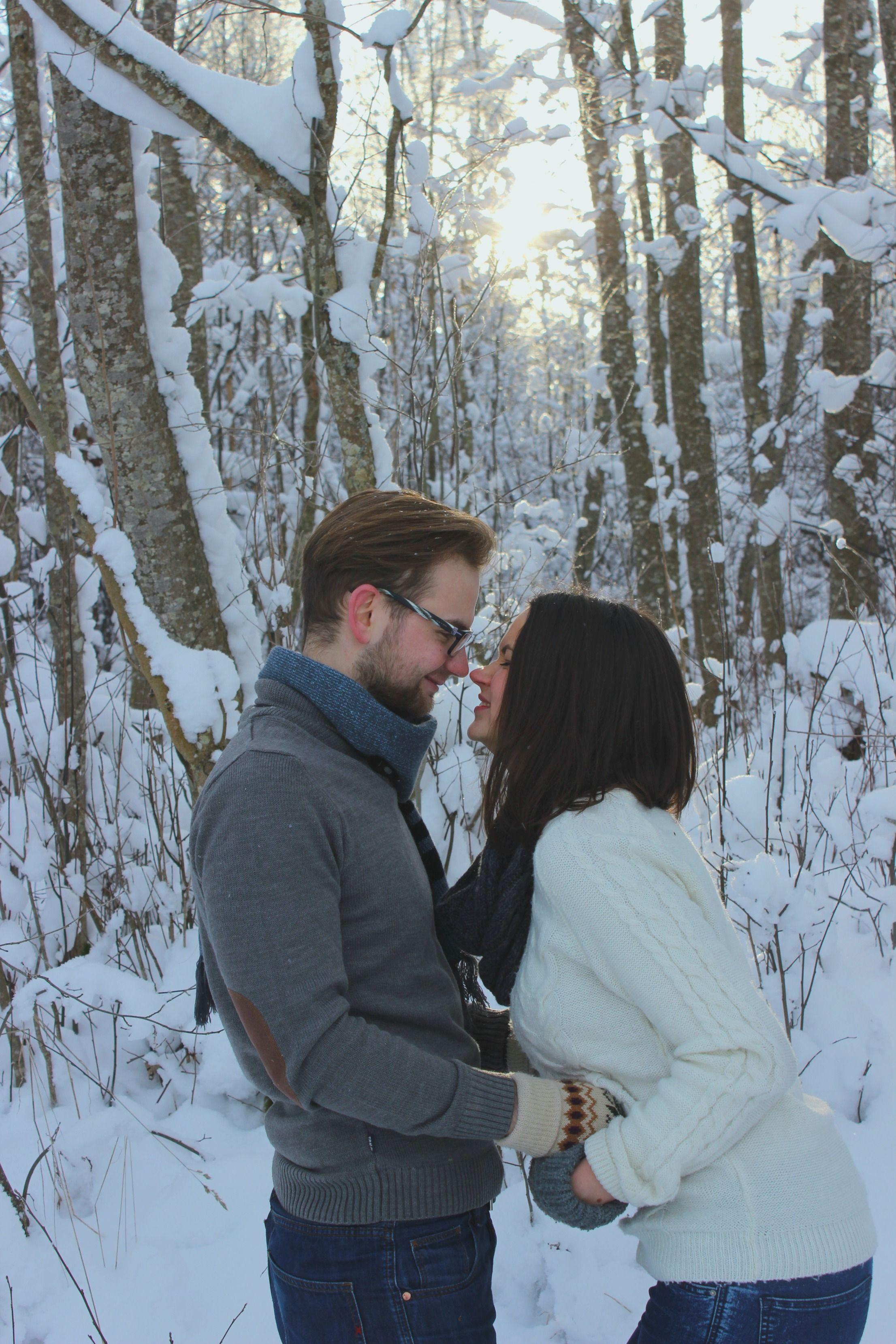 Couple Photoshoot Winter Snow Engagement Happy Estonia
