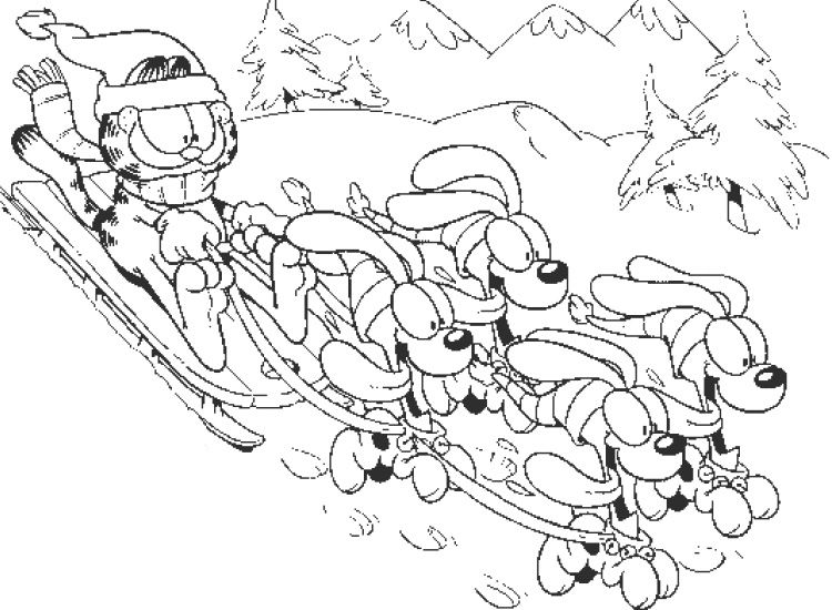 Garfield Was Playing With Her Friend Coloring Page Christmas Card