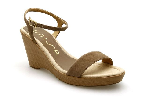 b869fdeb85489f Nu-pieds compensés UNISA RITA Taupe - Chaussures femme