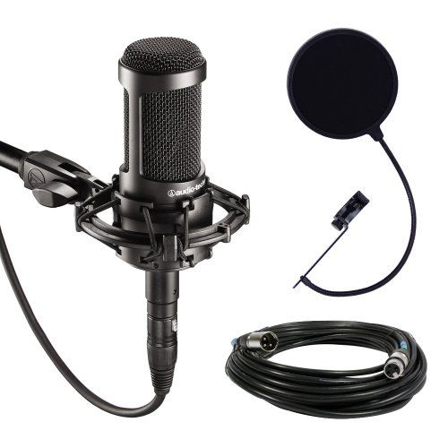 Audio Technica At2035 Large Diaphragm Studio Condenser Microphone Bundle With Shock Mount Pop Filter And Xlr Cable Audio Technica Htt Audio Ebay Cyber Monday