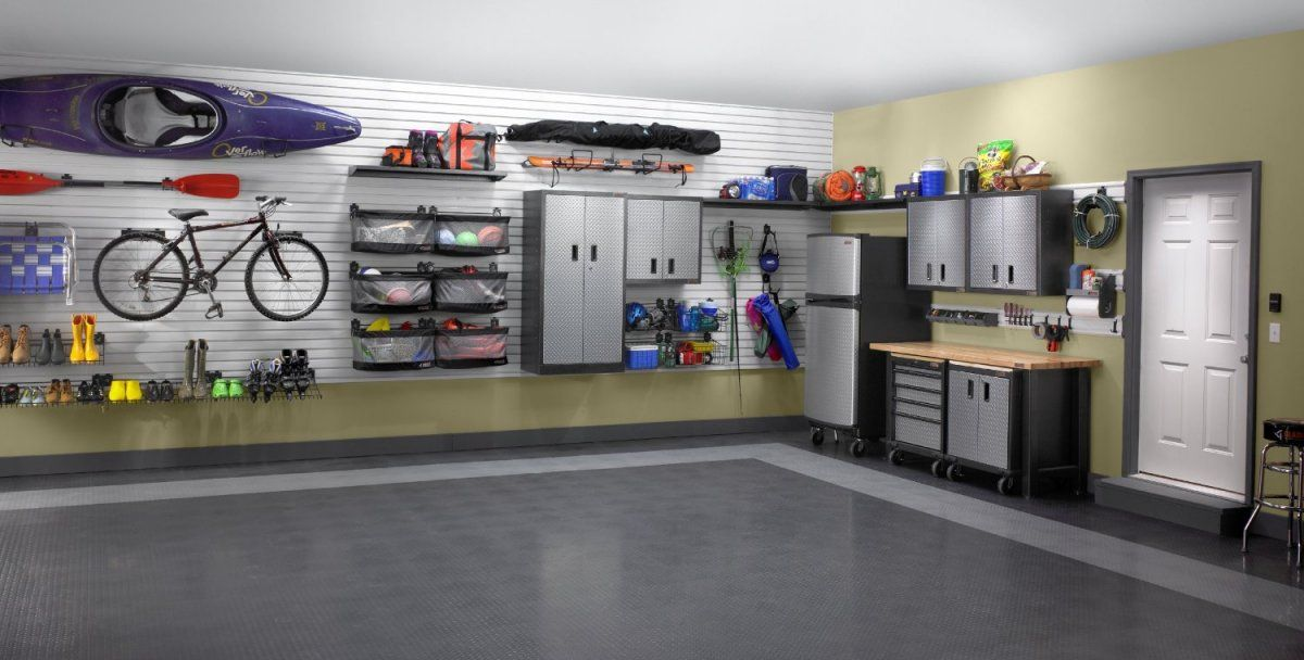 Contemporary Garage Design With Gladiator Garage Wall Panel Cream Wall Color Painted And Seamle Garage Organization Gladiator Garage Garage Organization Tips
