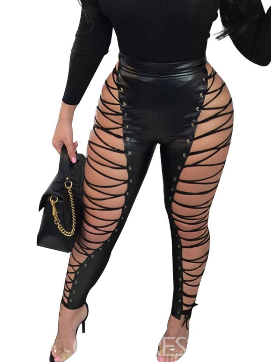 7ea9dc60e5d17 Ericdress Skinny PU Plain Stripe Women's Leggings | my fashion stuff ...