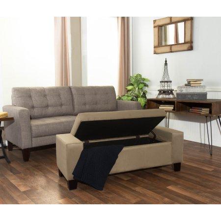 Wallace 52 Inch Beige Microfiber Storage Bench Storage Benches
