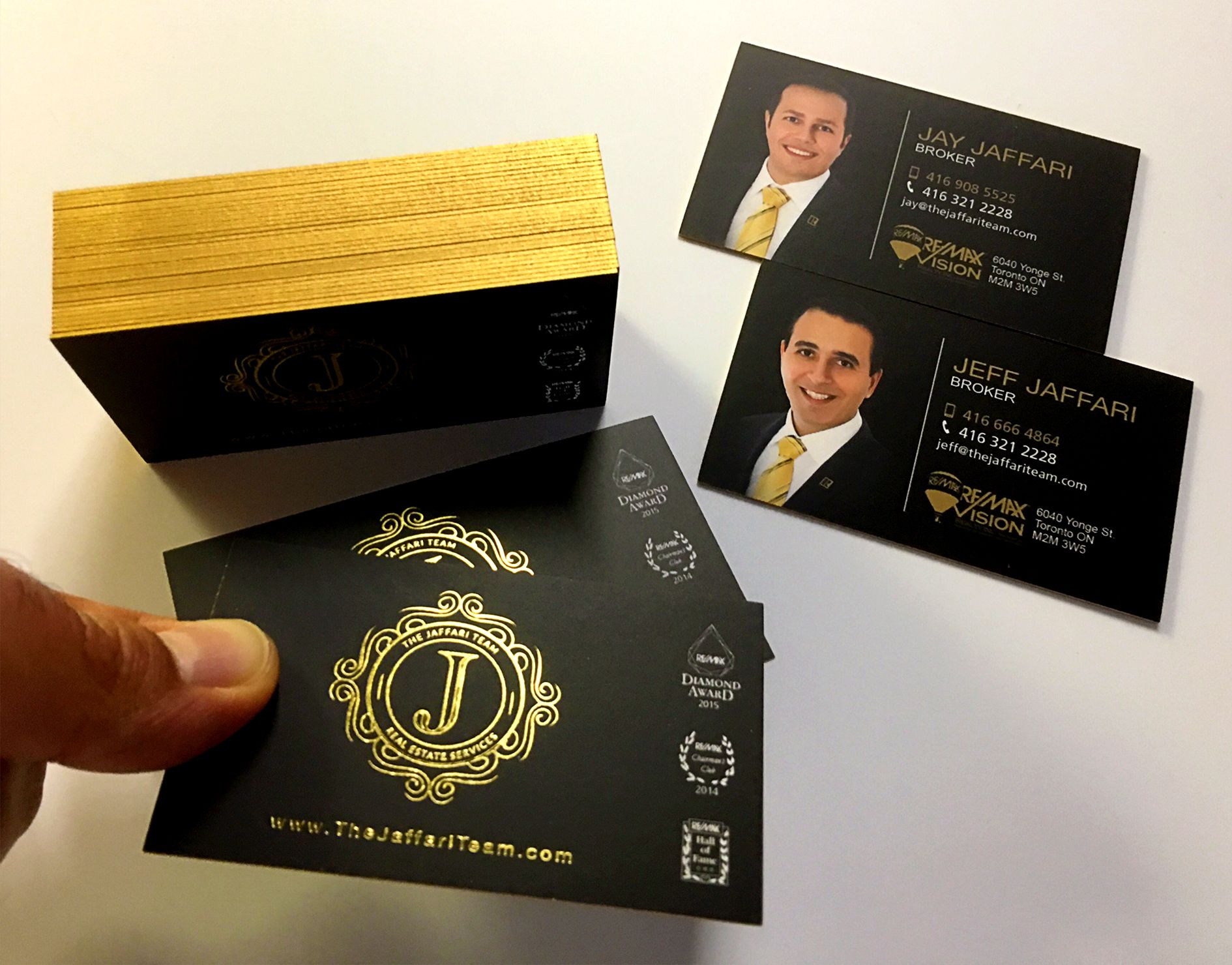 The jaffari team logo and business card design luxury gold foil real estate the jaffari team logo and business card design luxury gold foil business cards with gold reheart Images