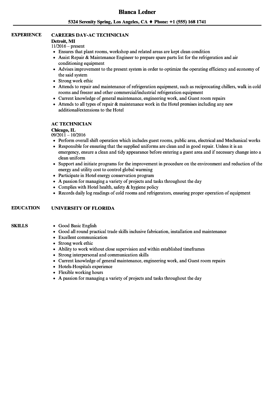 A C Technician Resume Format Resume Format Resume Examples Unique Resume Resume Format