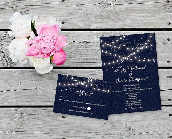 Wedding Invitations Hanging Lights   Party Invites   Outdoor Wedding    Fairy Lights   Light Bulbs