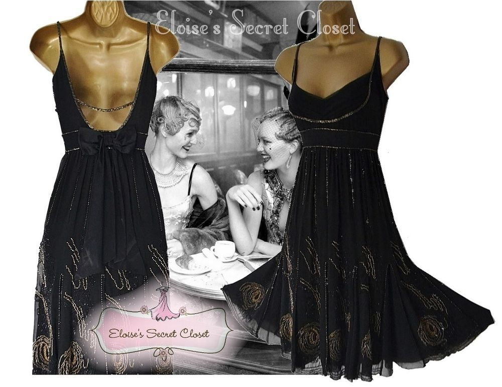 Karen Millen Gatsby Flapper 20s Silk Black Embellished Beaded