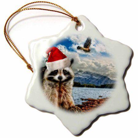 3dRose Christmas Raccoon in a Santa Hat Mountain Wildlife, Snowflake Ornament, Porcelain, 3-inch