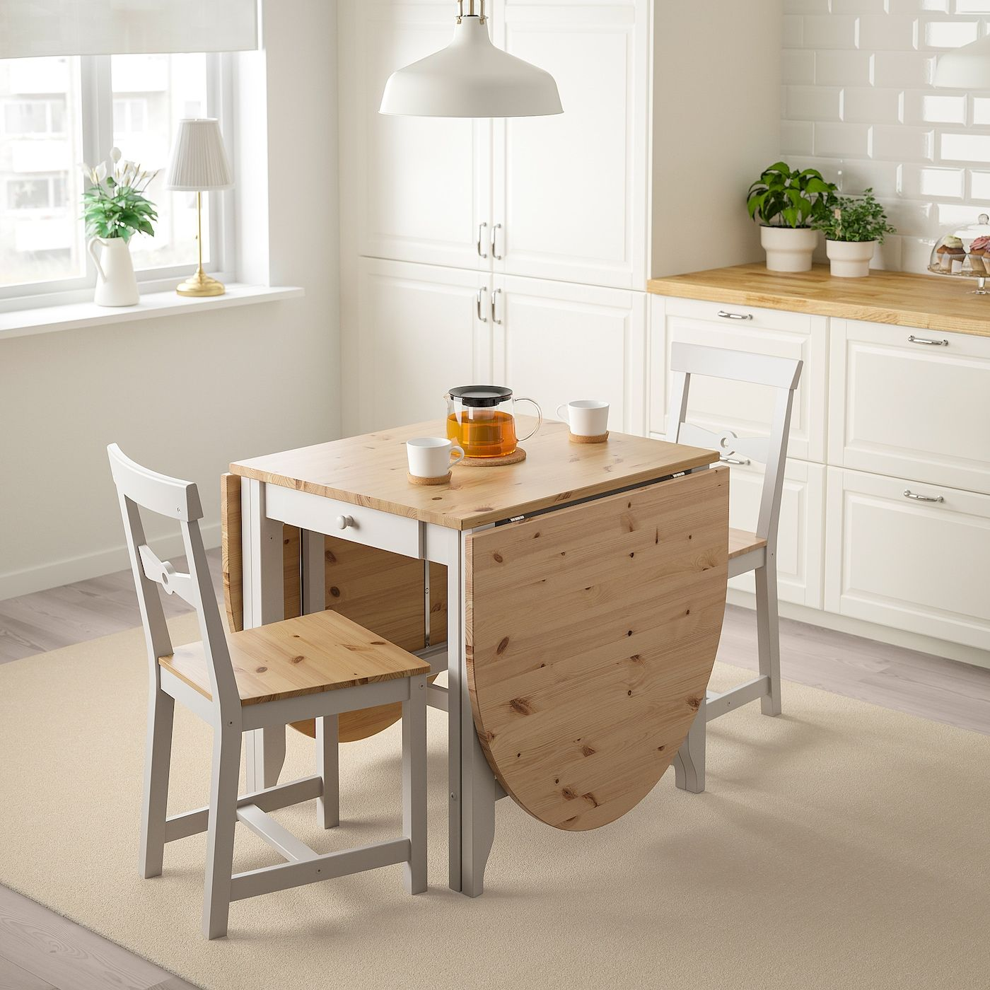 GAMLEBY Gateleg table - light antique stain, gray - IKEA ...