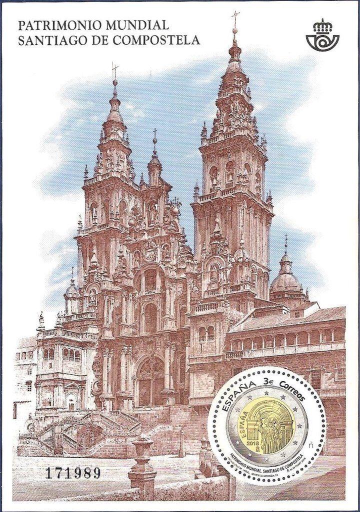 joulupostimerkki 2018 Patrimonio mundial. Santiago Compostela   2018   Sellos España  joulupostimerkki 2018
