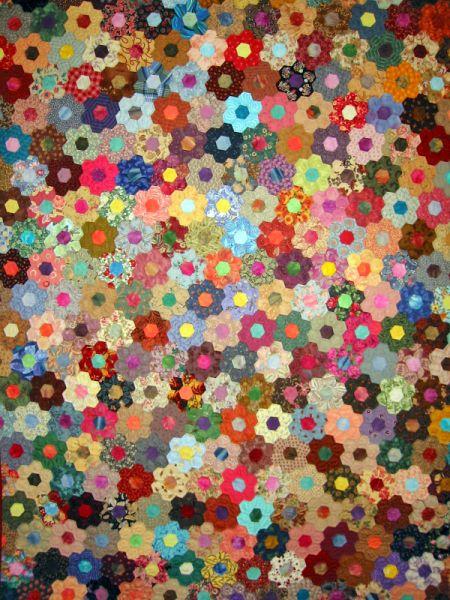 Finished the test hexagon flower hexagon quilts pinterest quilts hexagon quilt and flower for Grandmother flower garden quilt pattern variations