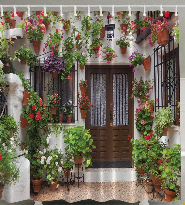 garden patio villa scene flowers