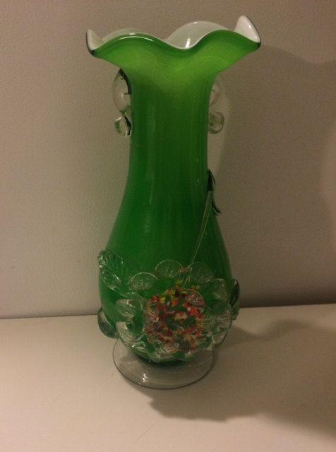 Vintage Fenton Green Glass Vase Confetti By Maidenlongisland