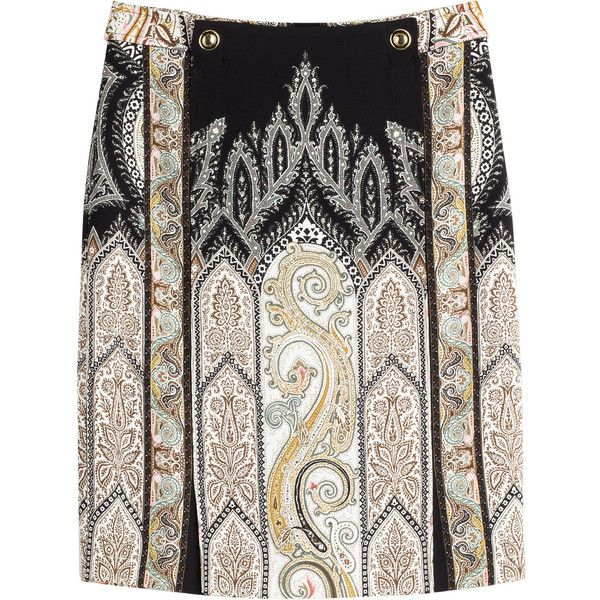 Etro Printed Crepe Pencil Skirt ($195) ❤ liked on Polyvore featuring skirts, multicolor, patterned pencil skirt, paisley skirt, fitted pencil skirt, etro and black skirt