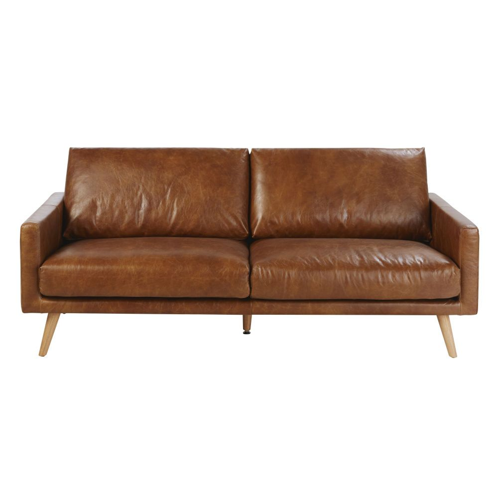 Sofa 3 Plazas De Piel Marron Conac Hooper With Images Sofa Scandinavian Style Stylish Sofa 3 Seater Leather Sofa