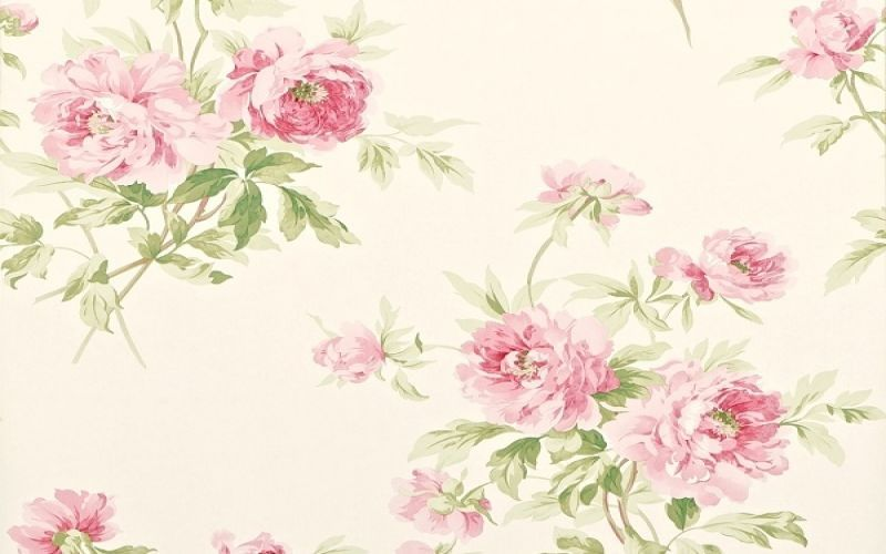 tapete caverly flower col 12 landhaus tapeten in den farben gr n rosa grundton beige. Black Bedroom Furniture Sets. Home Design Ideas