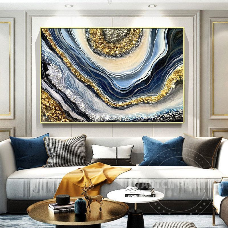 Framed wall art abstract blue gold silver seascape epoxy