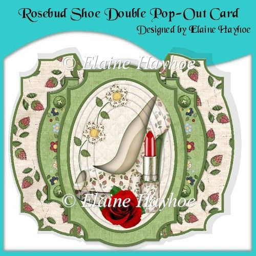 Rosebud Shoe Double Pop-Out Card - £1.25 : Instant Card Making Downloads