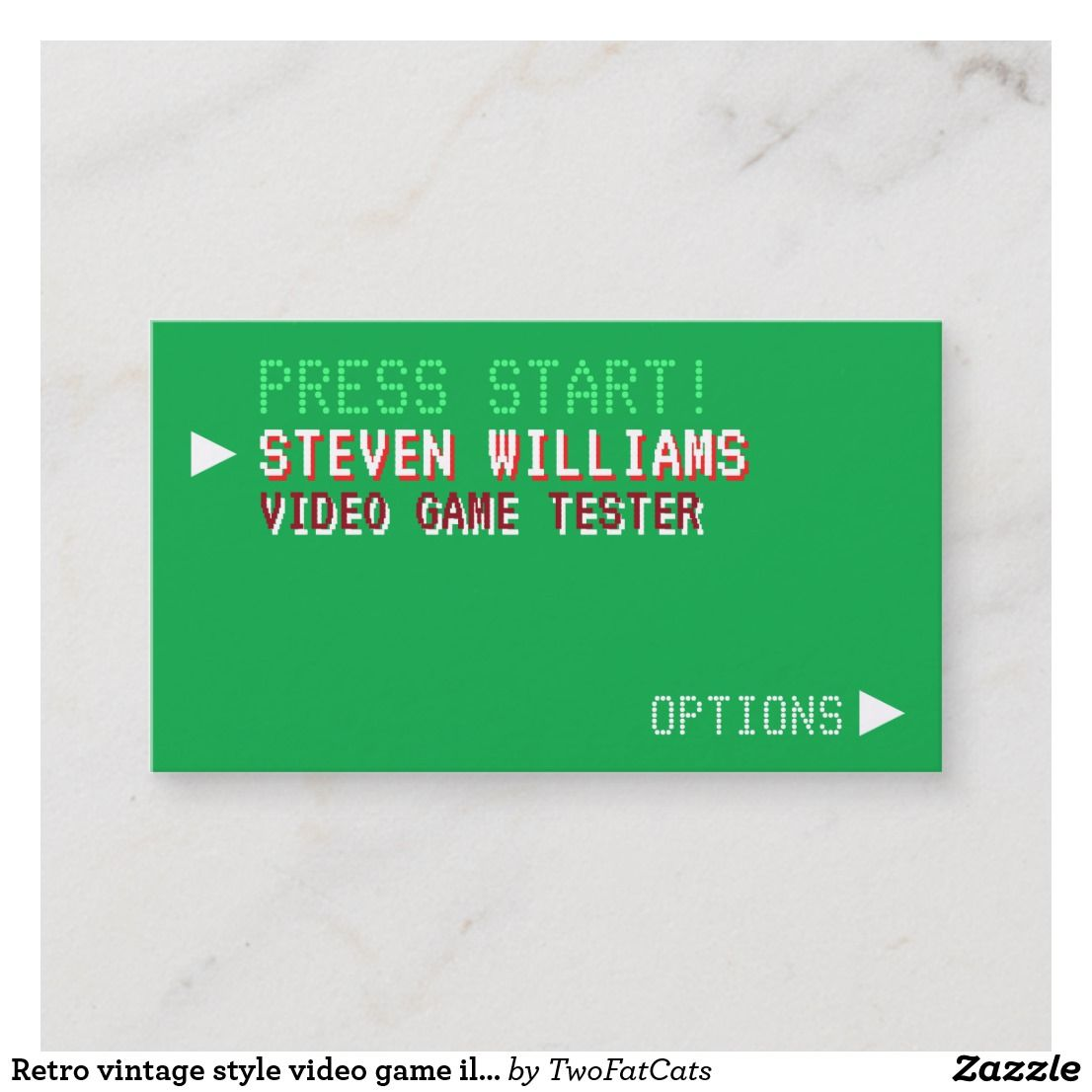 Retro Vintage Style Video Game Illustrated Business Card Zazzle Com Illustration Business Cards Business Cards Retro Retro Vintage Style