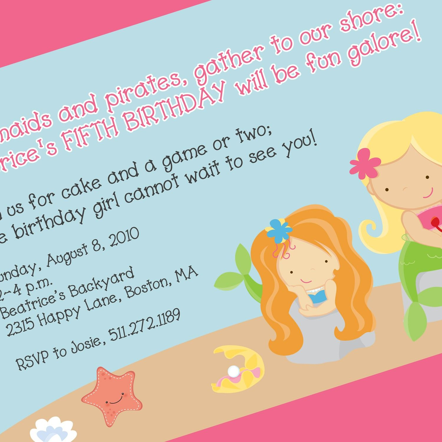 Mermaid Party Invitation Birthday Theme Printable