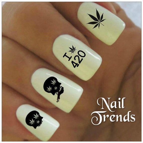 Cannabis Nail Decal 20 Marijuana Skull Vinyl Adhesive Decals Nail