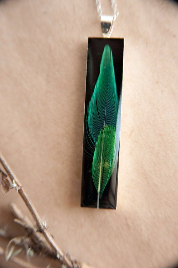 Real green feather resin necklace bird   sea glass pearl etc