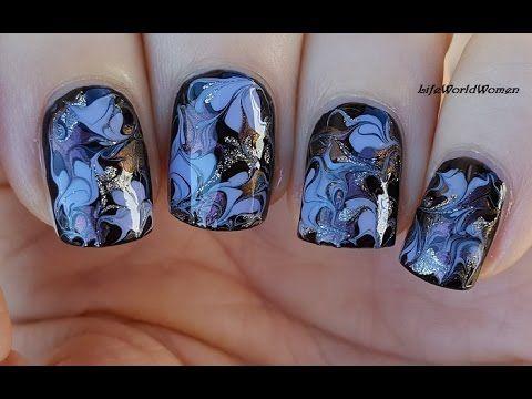 needle nail art 11  black drag marble nails  youtube in